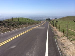 Sierra Road in the east hills above San Jose, rises steeply -- more than 1,800 feet in about 3-and-a-half miles. Photo by Michael Collier.