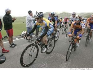 The Tour of California, the most successful professional stage race in the United States, often takes riders up and over Patterson Pass, elevation 2,300 feet, in the far eastern part of the San Francisco Bay Area. Photo by Michael Maloney, courtesy of the San Francisco Chronicle.