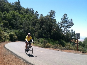 Leo Le Bon on his way to the top of Mount Diablo (elevation 3,850 feet) last month. He also rode to the top of Mount Tamalpais ( elevation 2,500 feet) on the same day. Photo by Nadia Le Bon.